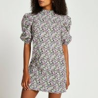 RIVER ISLAND Black short sleeve floral shift mini dress / high neck dresses