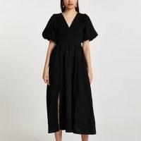 River Island Black short sleeve maxi dress   puff sleeve split hem dresses