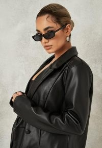MISSGUIDED black soft faux leather oversized blazer ~ women's on trend double breasted blazers