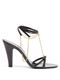 SAINT LAURENT Sue chain-embellished black leather sandals – ankle strap high heels with gold chains