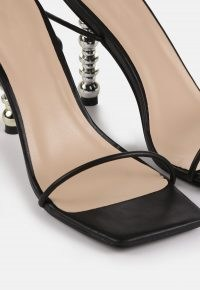 MISSGUIDED black tie up featured heel sandals / strappy evening shoes