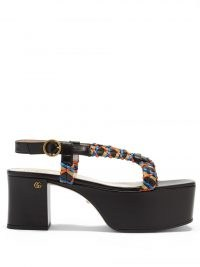 GUCCI Woven-ribbon leather platform sandals / black strappy weave detail platforms / womens retro summer shoes / women's vintage style footwear