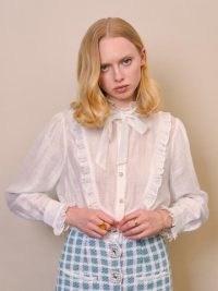 sister jane Social Tennis Bib Blouse – frill trim high neck blouses – womens romantic vintage style fashion