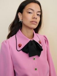 sister jane STRAWBERRY COURT Gem Player Bow Blouse Prism Pink
