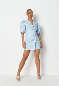 MISSGUIDED blue brocade puff sleeve blazer dress ~ womens floral textured jacket style evening dresses ~ glamorous party fashion ~ women's on trend going out clothing