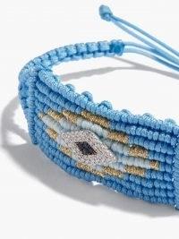 DIANE KORDAS Evil Eye diamond, sapphire & cord bracelet ~ blue beaded bracelets
