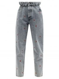 MIU MIU High-rise rose-embroidered straight-leg jeans / women's 80s inspired paperbag jeans / floral and crystal embellished denim