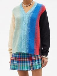 CHARLES JEFFREY LOVERBOY Homefront striped knit cardigan ~ womens multicoloured button front cardigans ~ women's designer knitwear