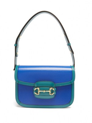 GUCCI 1955 Horsebit medium grained-leather shoulder bag in blue / boxy style flap closure handbags - flipped
