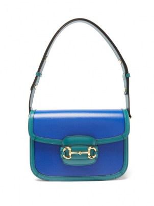 GUCCI 1955 Horsebit medium grained-leather shoulder bag in blue / boxy style flap closure handbags