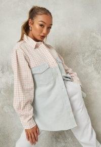 Missguided blue houndstooth splice denim shirt | women's casual curved hem shirts