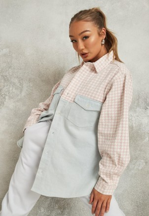Missguided blue houndstooth splice denim shirt | women's casual curved hem shirts - flipped