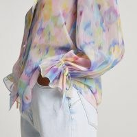 RIVER ISLAND Blue long sleeve floral shirt / women's multicolourd tie sleeve shirts