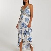 RIVER ISLAND Blue plunge beach dress / floral beachwear / womens summer dresses