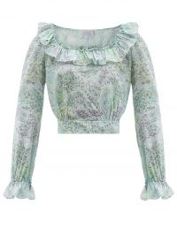 LUISA BECCARIA Gathered floral-print cotton-voile crop top / romantic pale blue ruffle trim tops