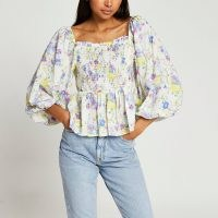 RIVER ISLAND Blue puff sleeve shirred picnic peplum top / romantic square neck balloon sleeve floral tops