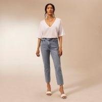 RIVER ISLAND Blue RI Studio straight leg jeans | high rise | crop leg | women's responsibly sourced cotton denim