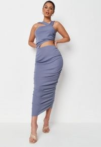 Missguided blue rib asymmetric strap ruched cut out midaxi dress | glamorous going out dresses | party glamour