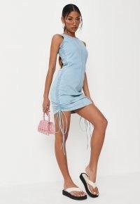Missguided blue ruched side stretch denim mini dress | sleeveless gathered dresses