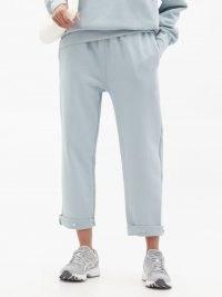 LES TIEN Snap-front brushed-back cotton track pants / stylish jogging bottoms / women's joggers