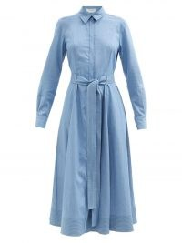 GABRIELA HEARST Sola belted denim shirt dress ~ blue long sleeve tie waist dresses