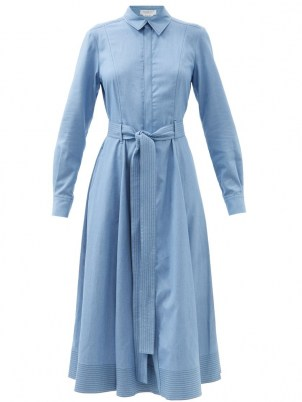 GABRIELA HEARST Sola belted denim shirt dress ~ blue long sleeve tie waist dresses - flipped