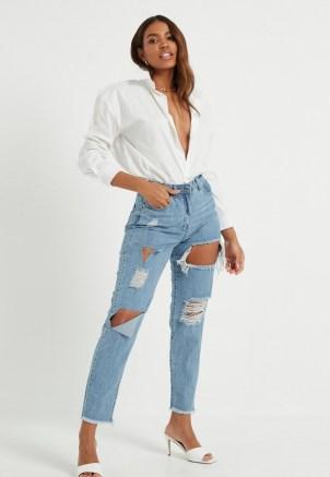 Missguided blue stonewash riot high rise ripped denim mom rigid jeans | destroyed denim - flipped