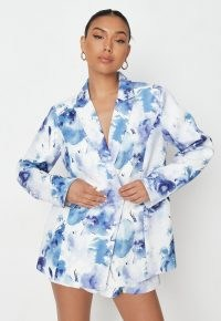 MISSGUIDED blue tailored oversized double breasted split back blazer ~ women's on trend blazers ~ womens summer jackets ~ waterolour print jacket