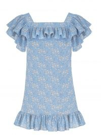 THE VAMPIRE'S WIFE The Cry Baby floral-print ruffled mini dress / womens blue ruffle trim dresses