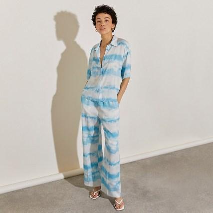 RIVER ISLAND Blue tie dye wide leg joggers / womens chic jogging bottoms