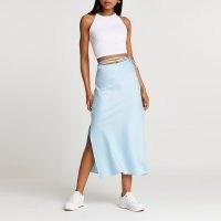 River Island Blue tie waist midi skirt | side split skirts | slit hem