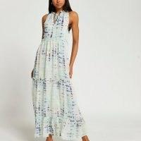 RIVER ISLAND Blue tiered tie dye maxi dress / womens sleeveless ruffle trim summer dresses