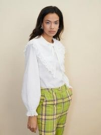 sister jane STRAWBERRY COURT Bounce Bow Collar Shirt – romantic white oversized collar shirts – vintage style blouses