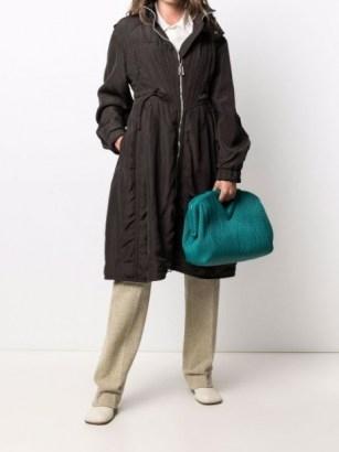 Bottega Veneta drawstring hooded parka ~ chic pleat detail parkas ~ women's casual coats - flipped