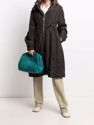 Bottega Veneta drawstring hooded parka ~ chic pleat detail parkas ~ women's casual coats