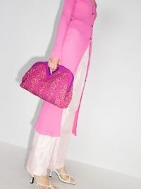 Bottega Veneta medium Triangle bouclé clutch bag in pink ~ textured bags