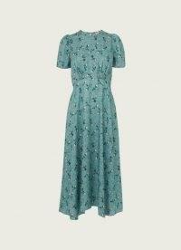 L.K. BENNETT BOYD TEAL SILK JACQUARD SCATTERED ROSE PRINT DRESS ~ floral dip hem summer event dresses