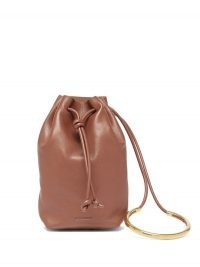 JIL SANDER Brown bracelet-handle leather bucket pouch – small drawstring bags
