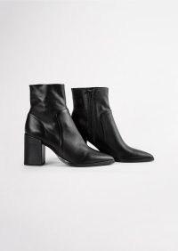 TONY BIANCO Brazen Black Luxe Ankle Boots ~ block heel point toe boot