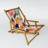 nwd_art Bright Paint Blobs Sling Chair ~ colourful wood frame garden chairs ~ stylish outdoor seating