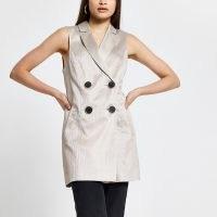 RIVER ISLAND Bronze sleeveless button up blazer ~ women's longline blazers ~ going out fashion