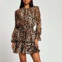 RIVER ISLAND Brown animal print shirred mini dress / gathered waist layered hem dresses