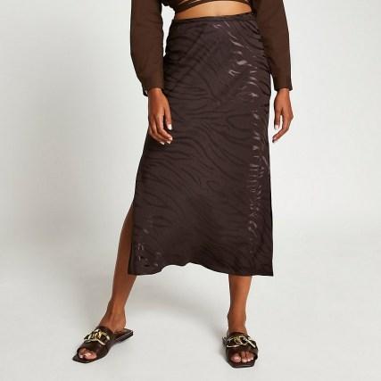 RIVER ISLAND Brown animal print side split maxi skirt ~ slit hem skirts - flipped