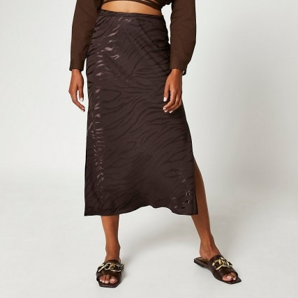 RIVER ISLAND Brown animal print side split maxi skirt ~ slit hem skirts