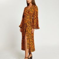RIVER ISLAND Brown animal print wrap shirt midi dress / frill detail tie waist dresses