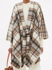 WEEKEND MAX MARA Check shawl / chic brown tie waist shawls