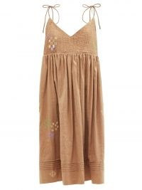 STORY MFG. Daisy embroidered organic cotton-blend maxi dress ~ womens brown summer dresses with self tie straps ~ empire line waist ~ strappy fashion