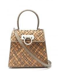 SALVATORE FERRAGAMO Earth woven-cork handbag / neutral top handle bags / womens chic handbags