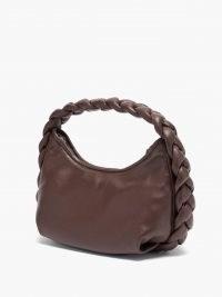HEREU Espiga mini brown leather shoulder bag / woven top handle handbags / womens braided bags / weave design handbag / women's chic accessories