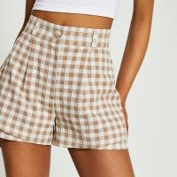 RIVER ISLAND Brown gingham double layer shorts